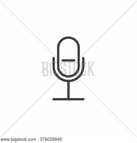 Record, Microphone Line Icon. Linear Style Sign For Mobile Concept And Web Design. Ui Mic Outline Ve
