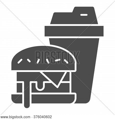 Hamburger And Glass Of Cola Solid Icon, Fast Food Concept, Burger With Soft Drink Sign On White Back