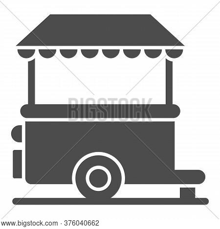 Stall On Wheels Solid Icon, Street Food Concept, Street Kiosk Sign On White Background, Trailer Kios