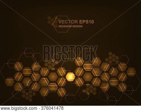Blockchain Technology Background. Futuristic Modern Hi-tech Brown Background. Technology Hexagon Con