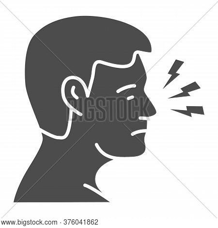 Nose Hurts Solid Icon, Body Pain Concept, Human Nose With Lightning Sign On White Background, Nose A