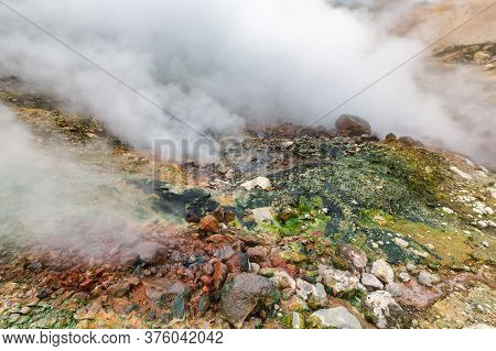Mysterious View Of Volcanic Landscape, Aggressive Hot Spring, Eruption Fumarole, Gas-steam Activity
