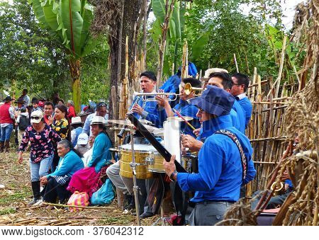 Cuenca, Ecuador - October 7, 2018: Local Celebration Of Harvest At Village. Group Of Musicians Playi