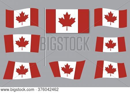 Canada Wavy Flags. Canadian Background. National Symbol Of Canada. Vector Image.