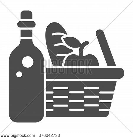 Bottle With Picnic Basket Solid Icon, Summer Time Concept, Wicker Picnic Basket Sign On White Backgr