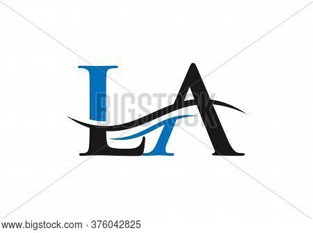 Water Wave La Logo Vector. La Letter Modern Business Logo. Abstract Letter La Logo Design.