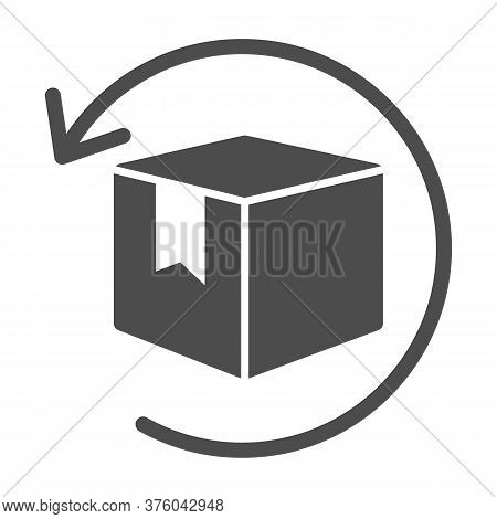 Box With Arrow Solid Icon, Logistics Concept, Commodity Turnover Sign On White Background, Return An