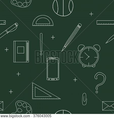 Hand Drawn Doodle Seamless Pattern On A School Theme. Dark Background With White Icon School Accesso
