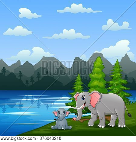 A Elephant With Her Cub Playing By The River