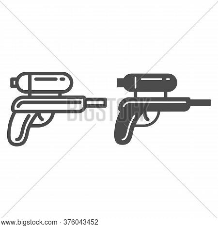 Water Gun Line And Solid Icon, Kids Toys Concept, Gun Toy Sign On White Background, Water Pistol Ico