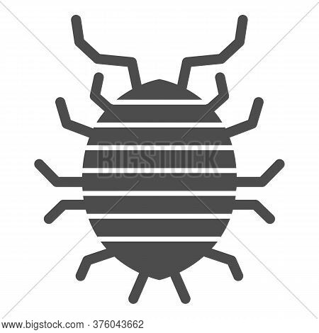 Woodlouse Solid Icon, Bugs Concept, Roll Up Bug Sign On White Background, Sowbug Icon In Glyph Style