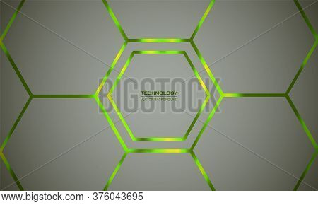 Hexagonal Light Green Vector Abstract Background. Light Honeycomb Texture Grid. Bright Green Flashes