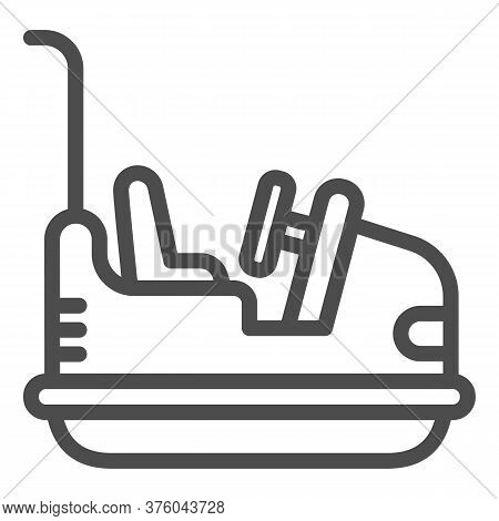 Bumper Car Line Icon, Amusement Park Concept, Electric Machine For Racetrack Sign On White Backgroun