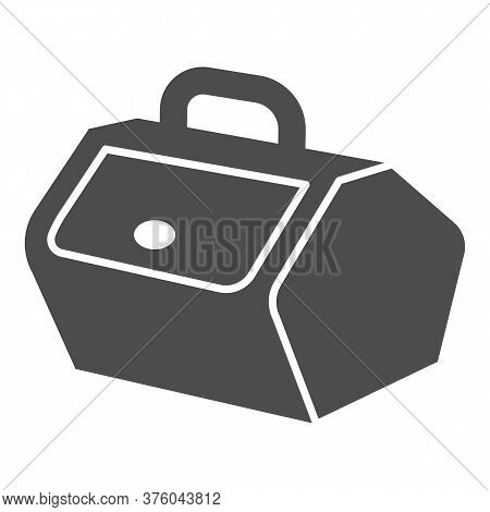 Picnic Basket With Lid And Handle Solid Icon, Picnic Concept, Food Container Sign On White Backgroun