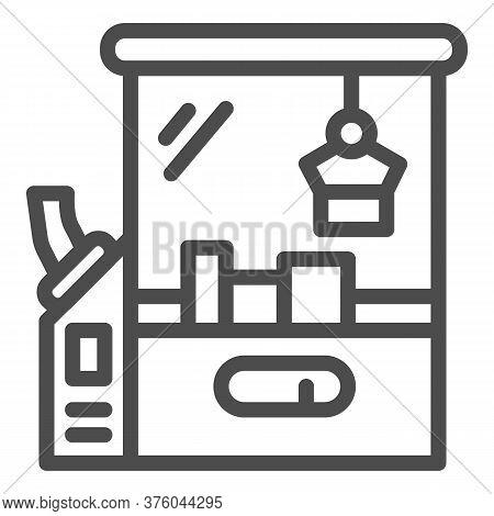 Toy Machine Line Icon, Amusement Park Concept, Crane Game Sign On White Background, Claw Crane Machi