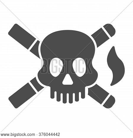 Skull And Two Cigarettes Solid Icon, Smoking Concept, Cross Sign Of Cigarette With Skull On White Ba