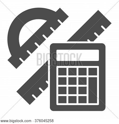 Protractor With Ruler And Calculator Solid Icon, Mathematics Concept, School Supplies Sign On White