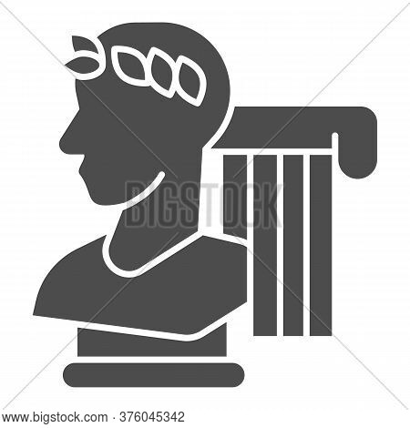 Greek Statue And Column Solid Icon, Back To School Concept, Monument And Column Sign On White Backgr