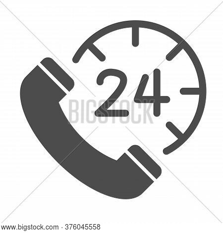 Handset And Clock Solid Icon, Call Center Concept, All-day Customer Support Sign On White Background