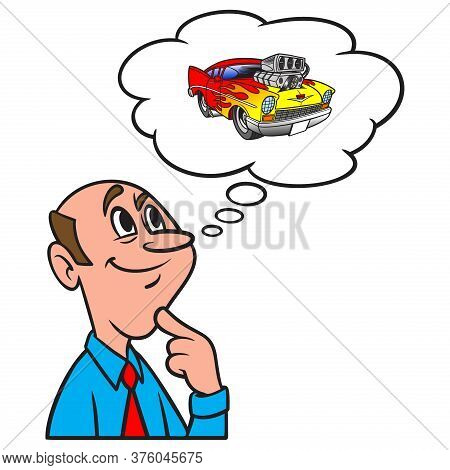 Thinking About A Car Show - A Cartoon Illustration Of A Man Thinking About A Car Show.