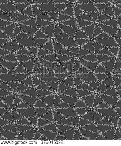 Repeat Classic Vector Geo Decor Texture. Continuous Asian Graphic, Cell Tile Pattern. Repetitive Ele