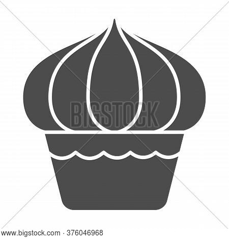 Cupcake Solid Icon, Dessert Concept, Muffin Sign On White Background, Sweet Creamy Cupcake Icon In G