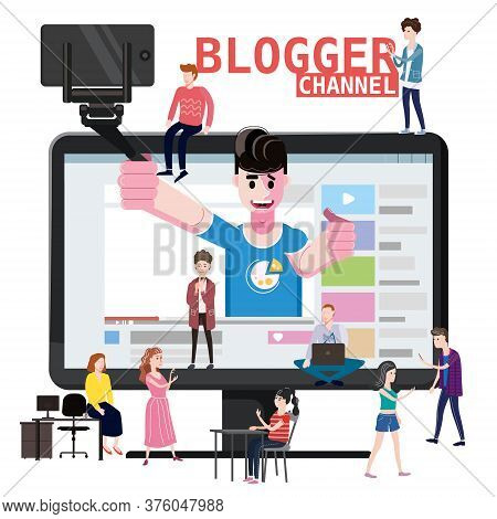 Blogger Channel Video For Blog Or Vlog In Interface Web, Holds Smartphone On Tripod. Popular Young V