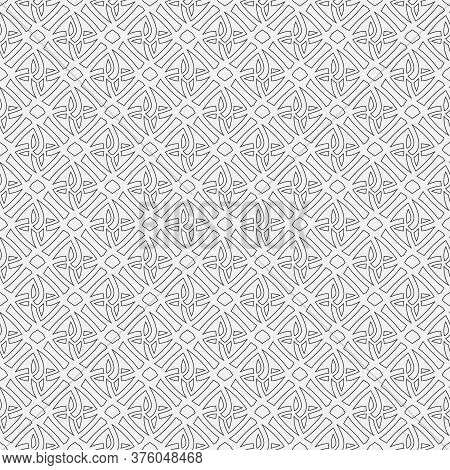 Seamless Tracery Floral Ornament From A Thin Line. Abstract Black-and-white Texture With Simple Repe