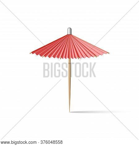 Toothpick Cocktail Umbrella, Paper Parasol Miniature Red, Realistic 3d Vector Model Isolated On The