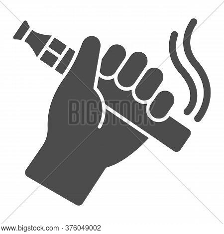 Hand With Vape Solid Icon, Smoking Concept, Vape Device In Hand Sign On White Background, Vaporize P