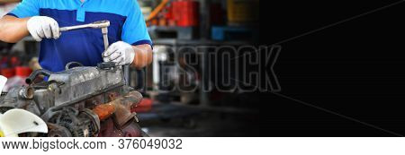 Hands Of Car Mechanic In Auto Repair Service In Automobile Garage,copy Space