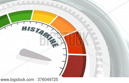 Scale With Arrow. The Histamine Measuring Device. Sign Tachometer, Speedometer, Indicator. 3d Render