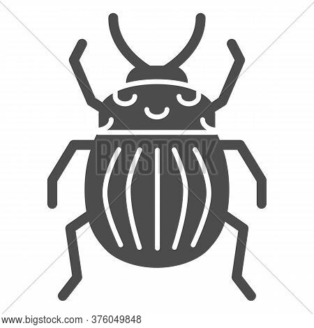 Colorado Potato Beetle Solid Icon, Bugs Concept, Striped Beetle Sign On White Background, Potato Or