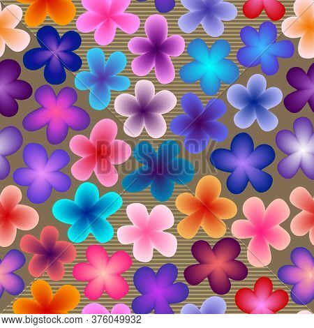 Vivid Bright Eye-catching Neon Multicolored Gradient-filled Flowers On Background With Lines. For Vi