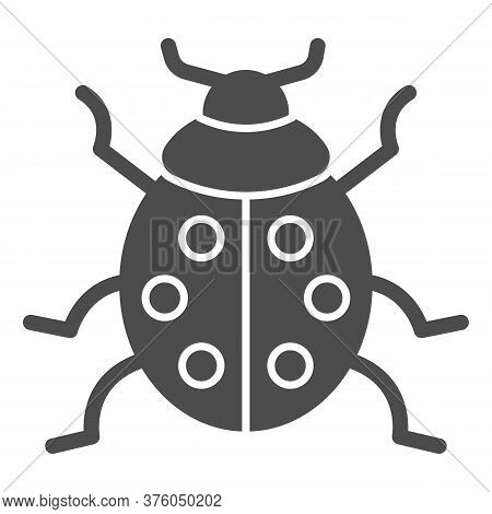 Ladybug Solid Icon, Beetles Concept, Ladybird Sign On White Background, Lady-beetle Icon In Glyph St