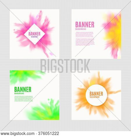 Backgrounds Set With Dry Paint Pigment Clouds, Realistic Vector Illustration.