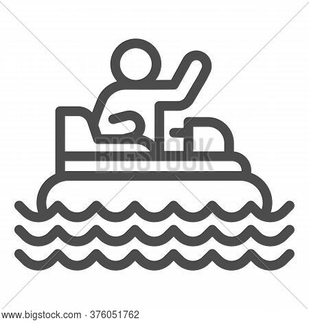 Catamaran With Person Line Icon, Amusement Park Concept, Beach Boat With Pedals Sign On White Backgr