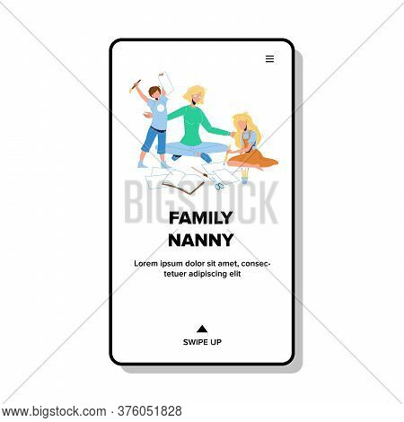 Family Nanny Playing Game With Children Vector