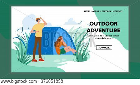 Outdoor Adventure And Expedition Travel Vector Illustration