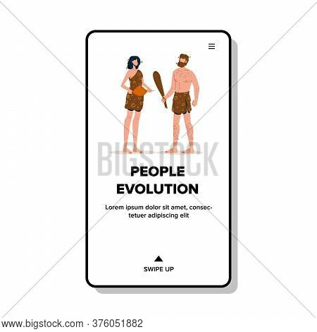 People Evolution Primitive Man And Woman Vector