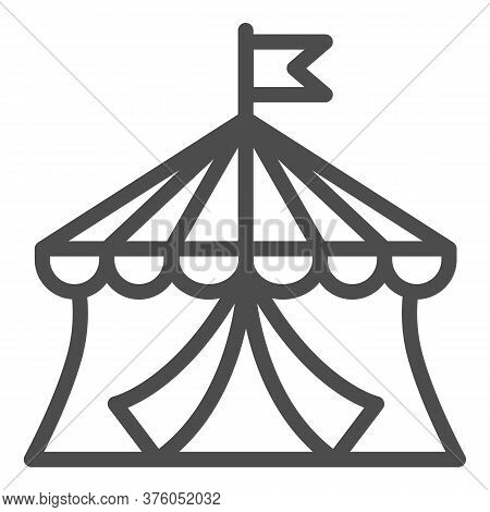 Circus Line Icon, Amusement Park Concept, Circus Tent Sign On White Background, Round Tent With Flag