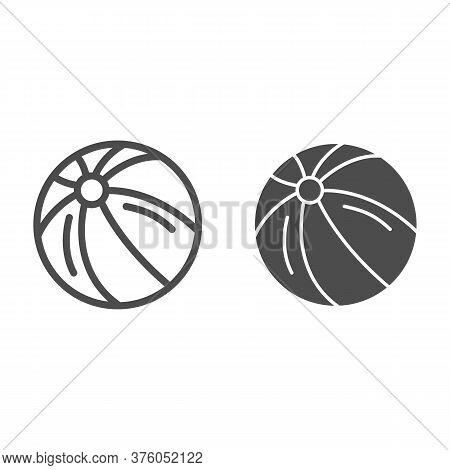 Ball Line And Solid Icon, Kids Toys Concept, Beachball Sign On White Background, Children Striped Ba