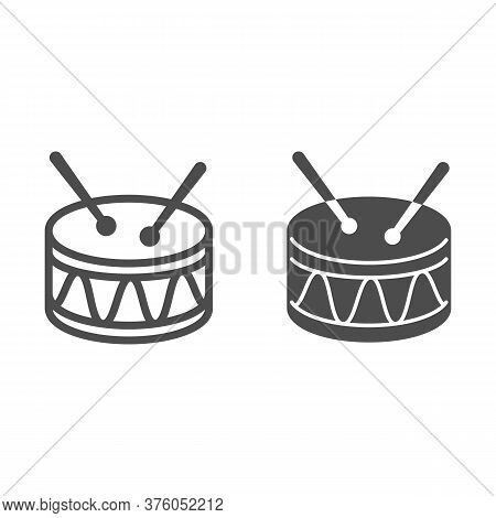 Drum Line And Solid Icon, Kids Toys Concept, Drum Toy Sign On White Background, Snare Drum Icon In O