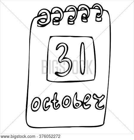 Desk Calendar M Dated October 31, Vector Decorative Element For Halloween Celebration In Doodle Styl