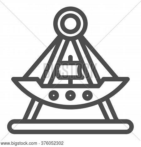 Riding Ship Attraction Line Icon, Amusement Park Concept, Viking Boat Ride Sign On White Background,