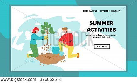 Summer Activities In Garden Or Public Park Vector