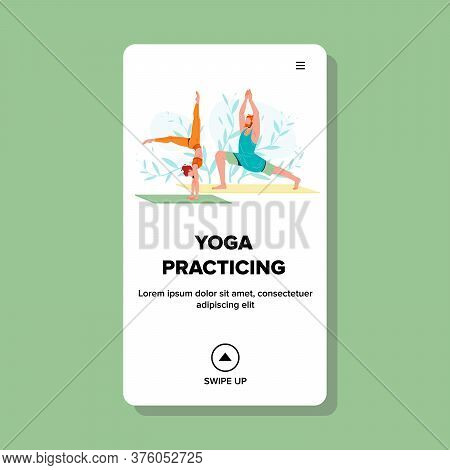 Yoga Practicing And Training Fit People Vector