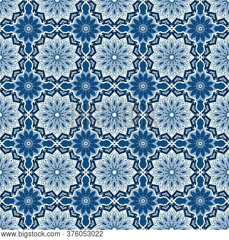 Oriental Mandala. Vector Pattern In Classic Blue Hues For Any Surface. A Serene, Calming Effect Of B