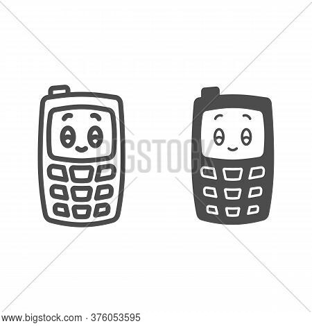 Children Mobile Phone Line And Solid Icon, Kids Toys Concept, Children Walkie-talkie Or Cell Phone S