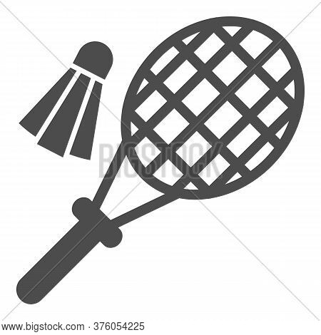 Racket And Shuttlecock Solid Icon, Summer Sport Concept, Badminton Sign On White Background, Badmint
